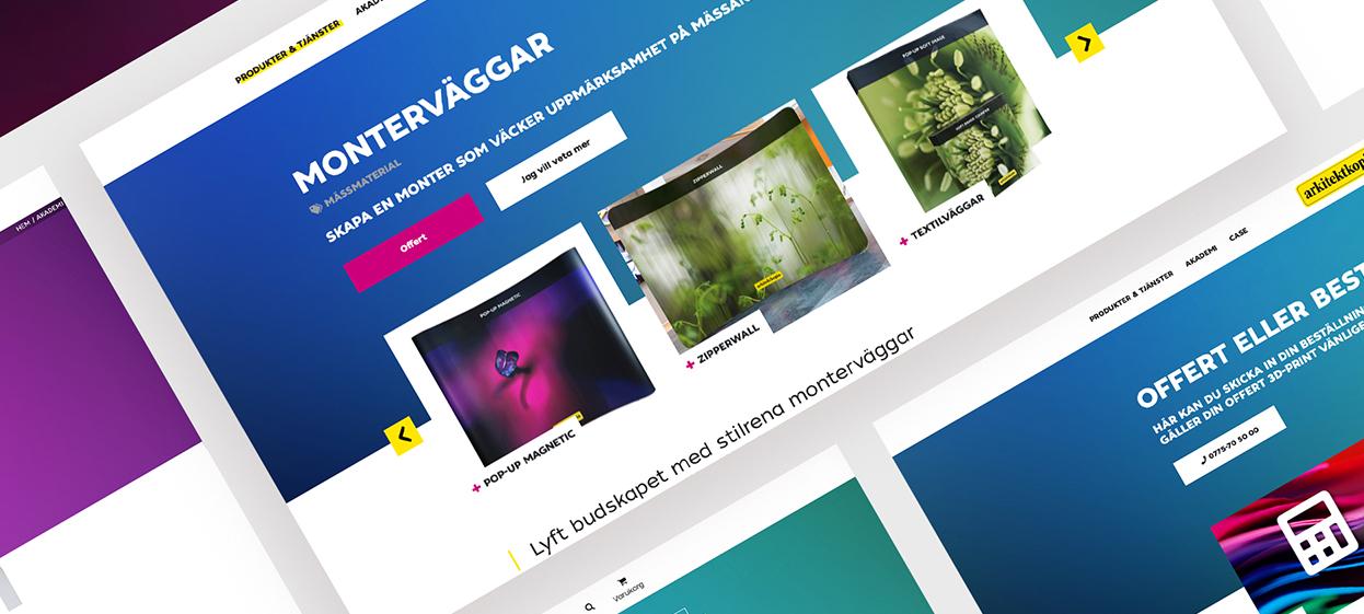 Designen på Arkitektkopias nya site är färggrann och lekfull