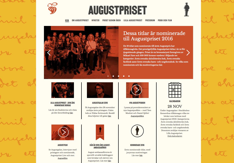 Augustprisets hemsida