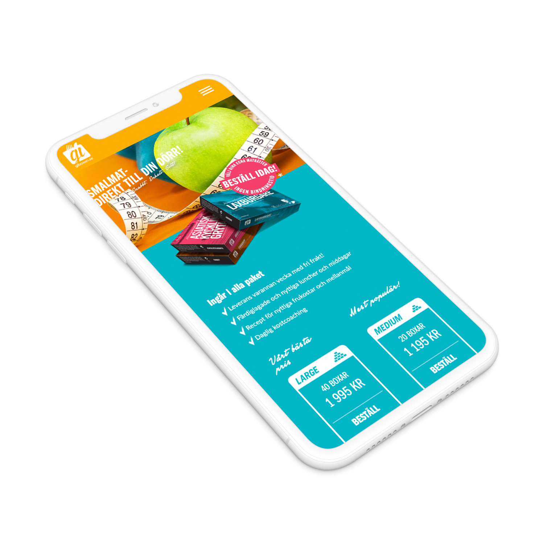 GI-boxens hemsida framställd i en vit iphone X