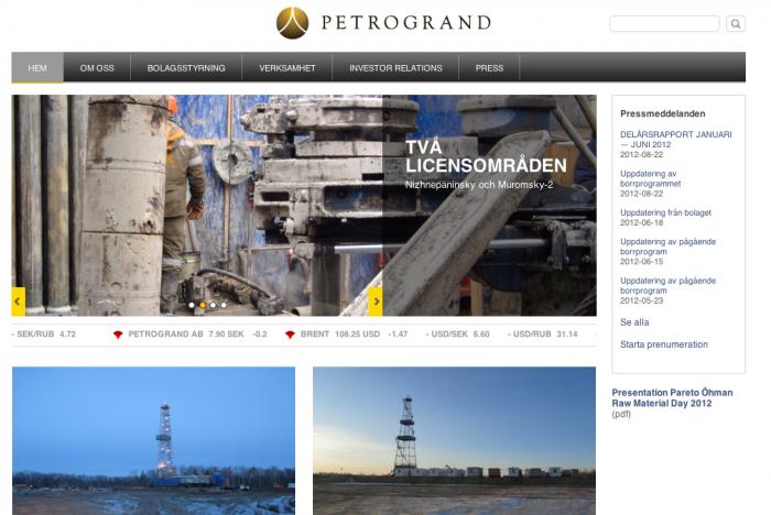 Petrogrands hemsida