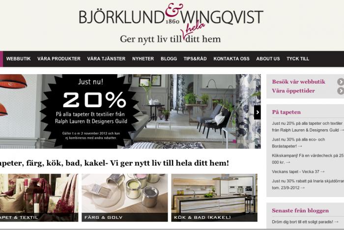 Björklund och wingqivst hemsida