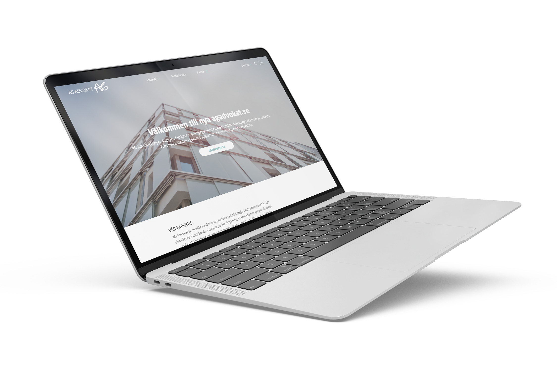 En laptop. AG advokats hemsida.