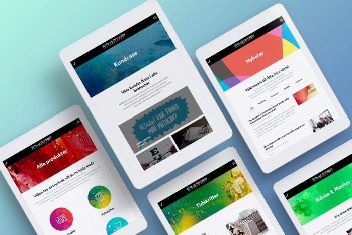Flera ipad:s visar upp olika delar av åtta 45:s nya hemsida
