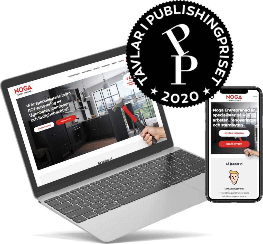 Bild på noga entreprenadshemsida som tävlar i publishingpriset