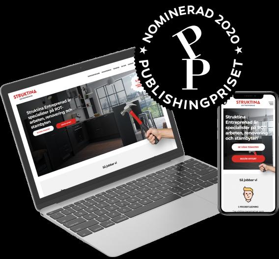 Struktina Entreprenads hemsida är nominerad i publishingpriset 2020