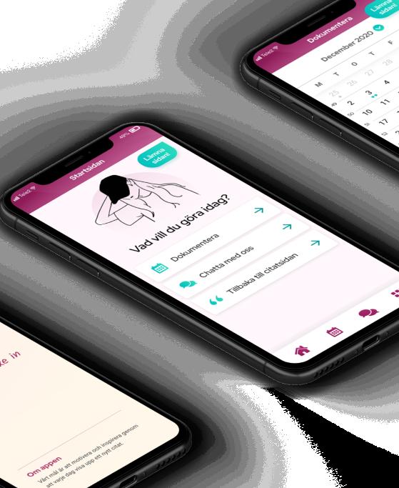 Mobil som visar första sidan i appen Sofie