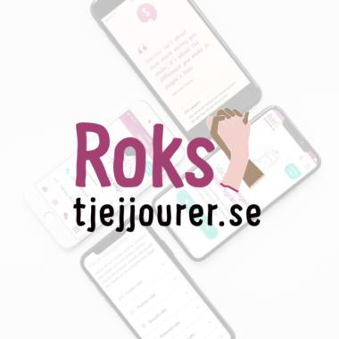 """bild på Roks tjejjourers logotyp med texten """"Roks tjejjourer"""" och två händer"""