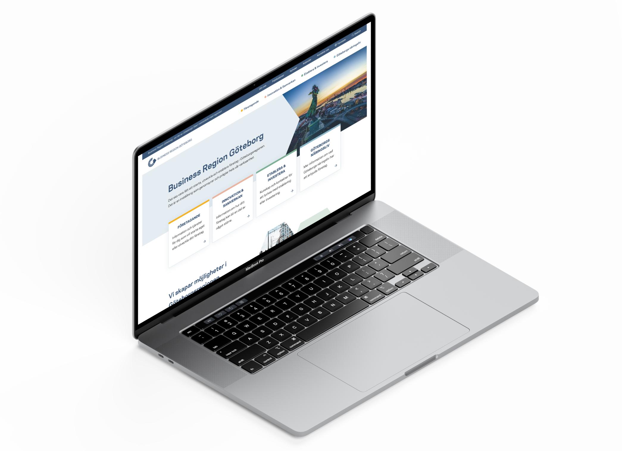 Laptop som visar upp Business regions Göteborgs nya startsida