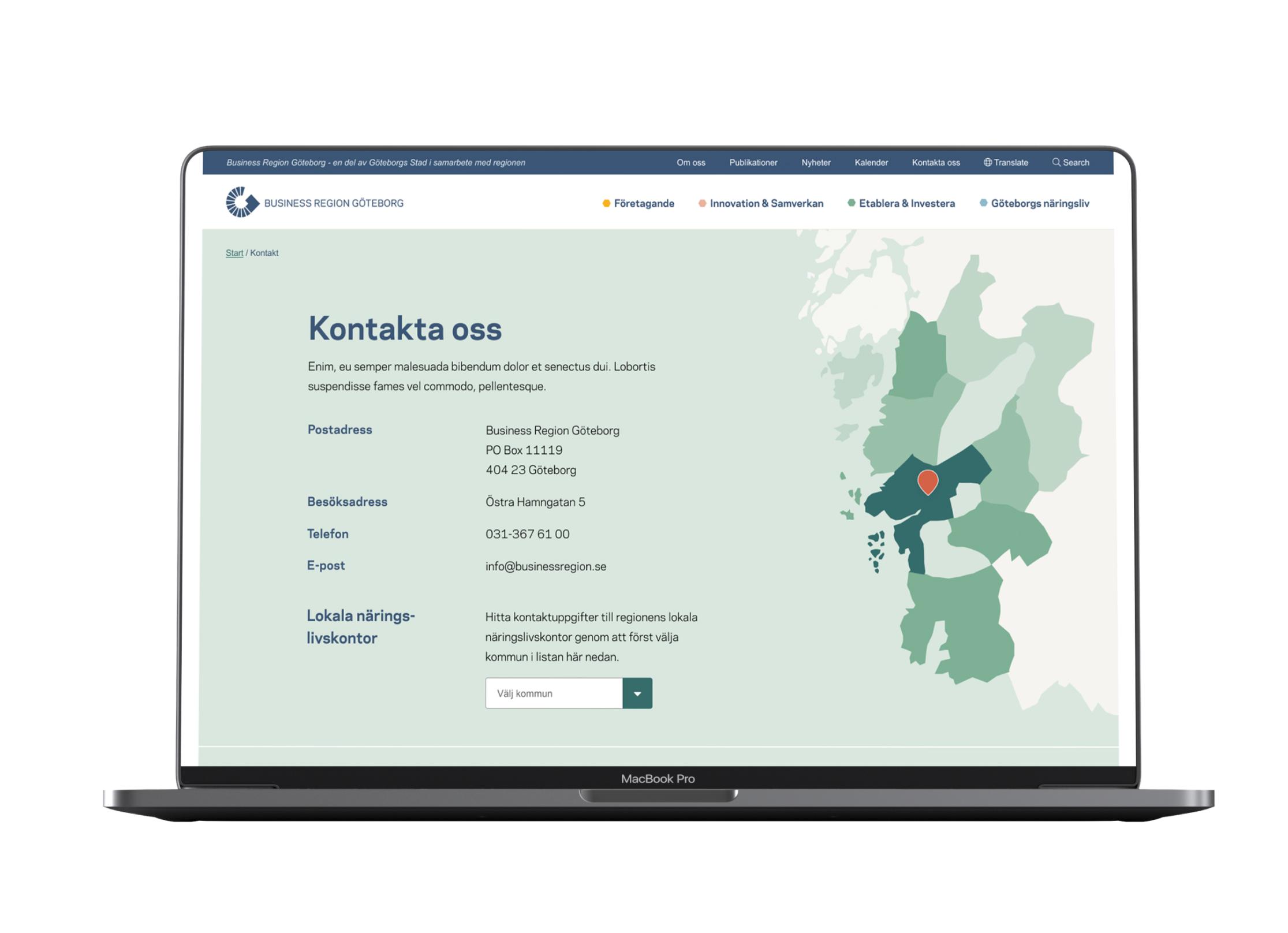 Laptop som visar upp Business regions Göteborgs kontakt-sida