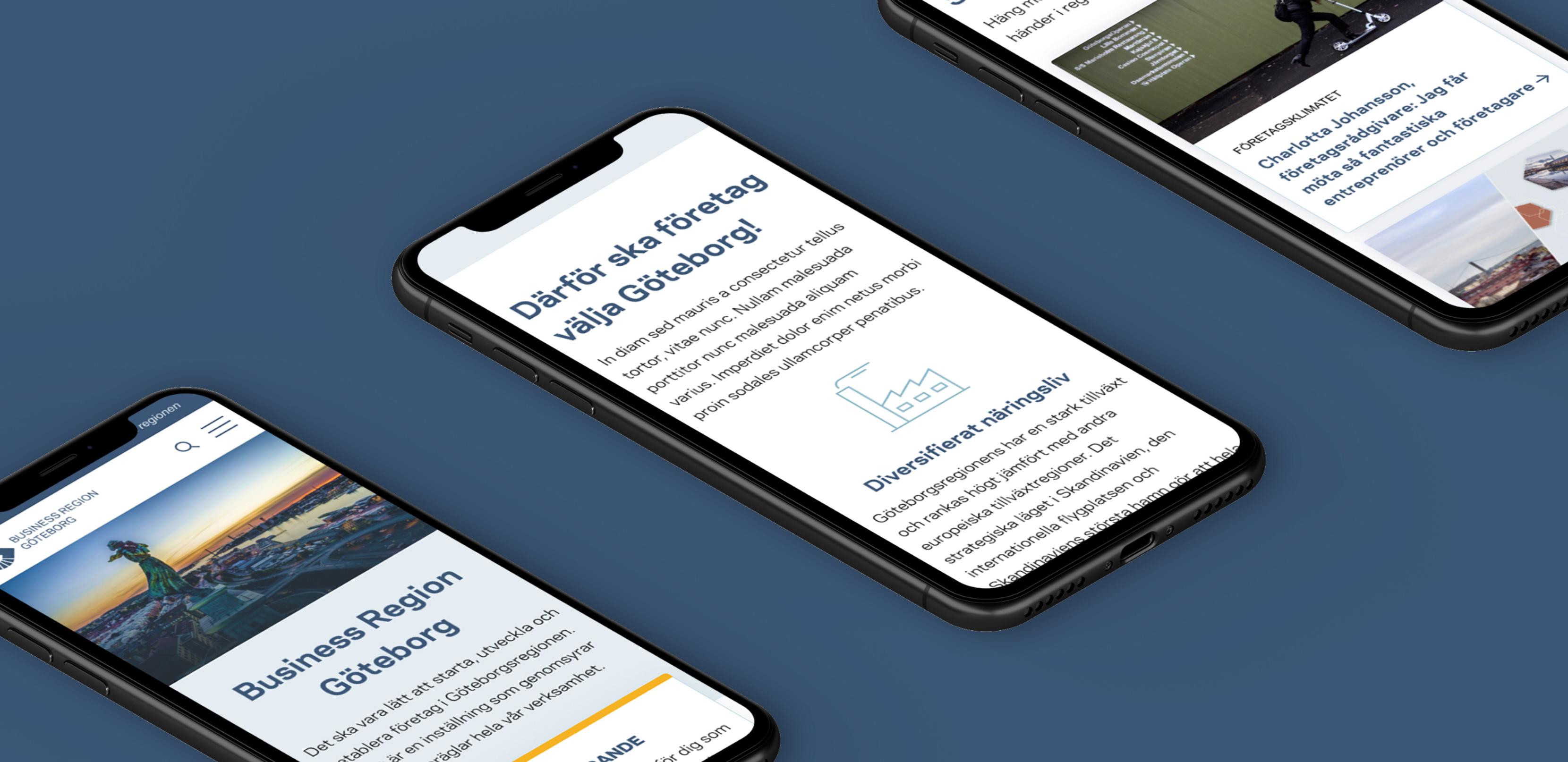 tre stycken iphone som visar upp Business region Göteborgs nya hemsida från en mobil vy
