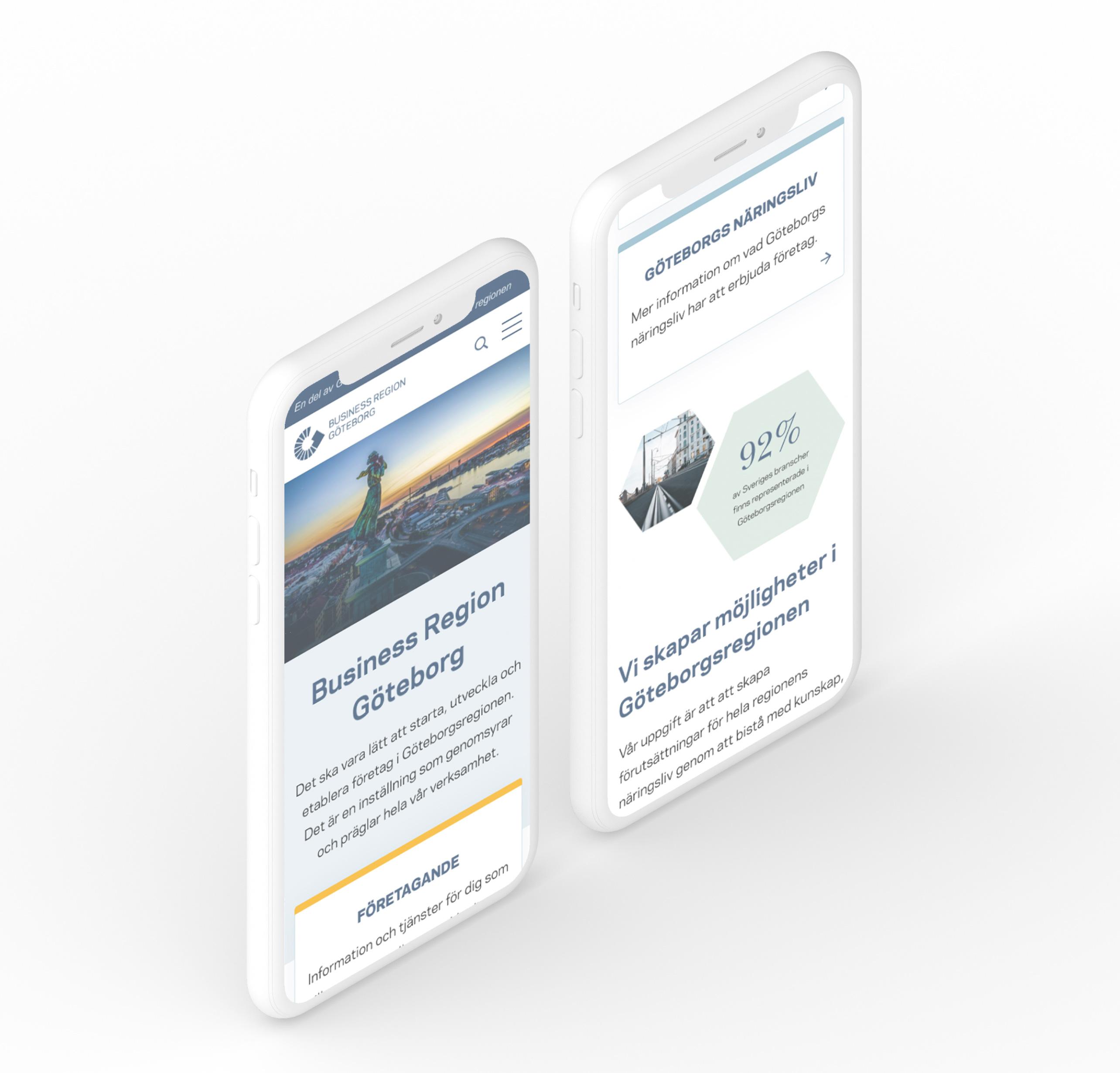 två stycken iphone som visar upp Business region Göteborgs nya hemsida från en mobil vy