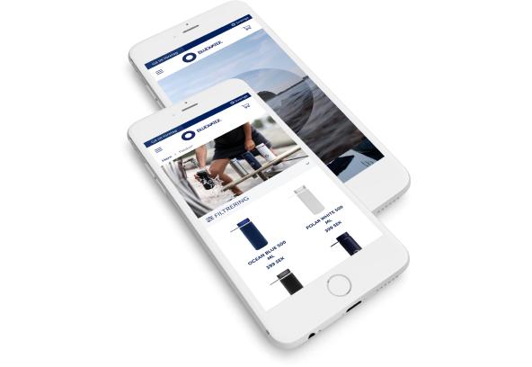 Bild som föreställer Bluewaters hemsida i mobilvy