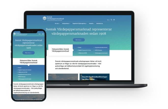 Bild som visar svensk värdepappersmarknads hemsida på olika plattformar