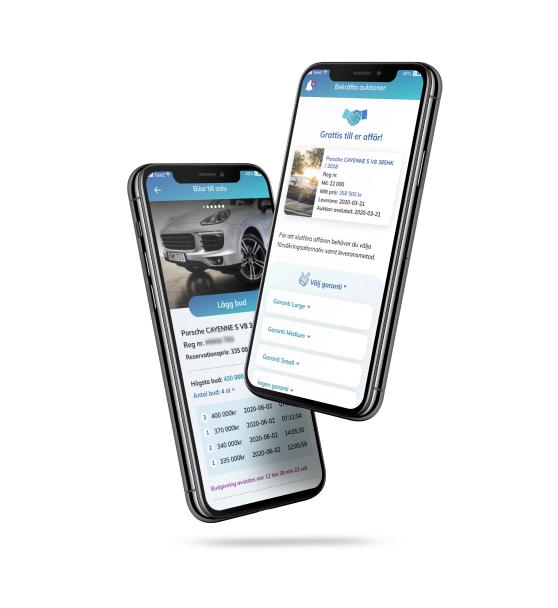 Bild som visar bilhandlarbudets app