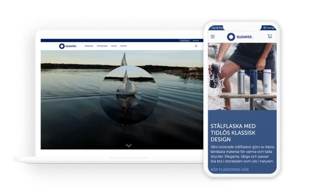Bild som föreställer Bluewaters hemsida på desktop och mobil