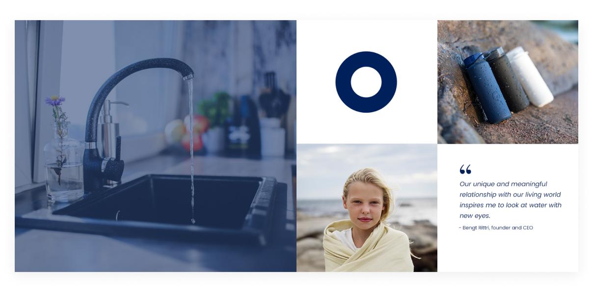 Bild som föreställer bluewaters logotyp och produkter