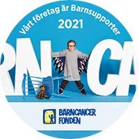 Bild på barn-supporter märke för  barncancerfonden