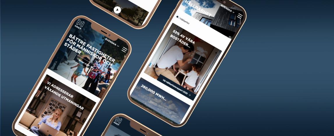 Bild som visar upp Nreps hemsida i mobil