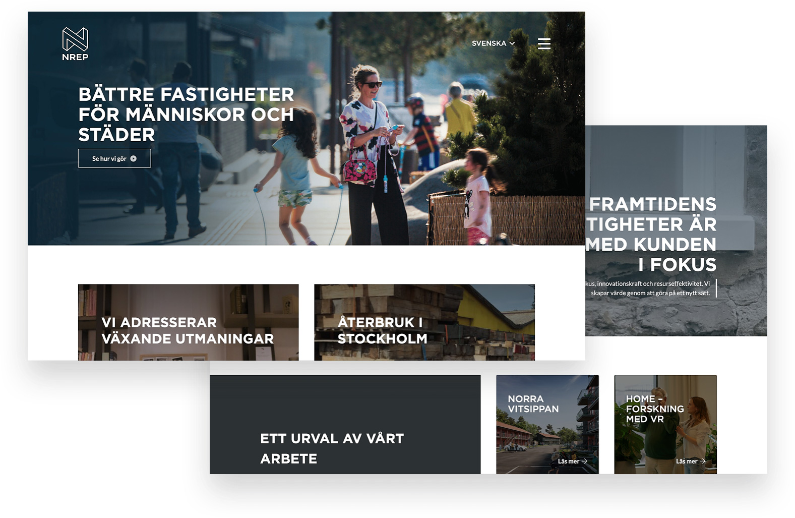 Bild förestället toppen av NREPs nya hemsida
