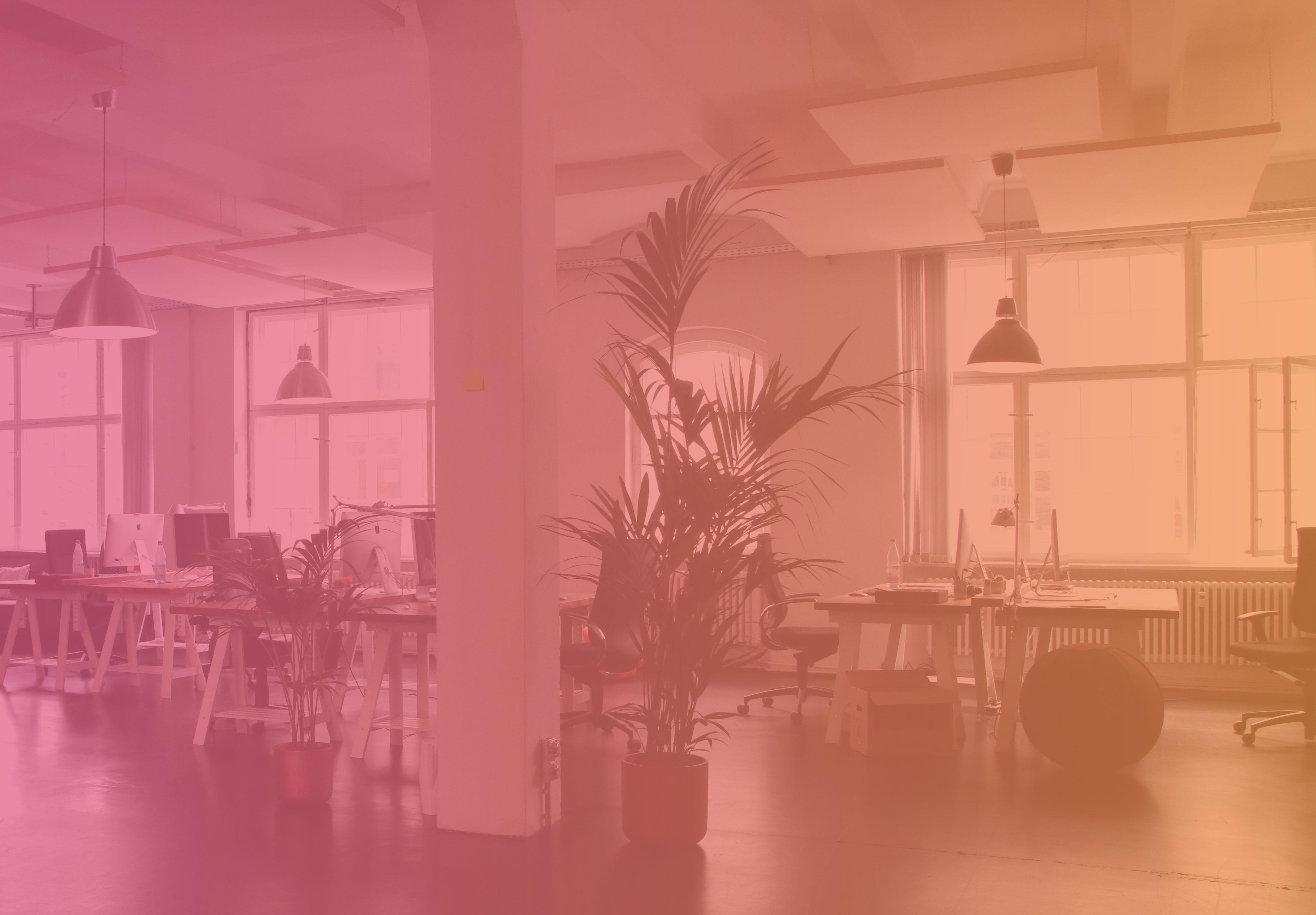 Placeholderbild på ett kontor med Awaves gradienta färg ovanpå
